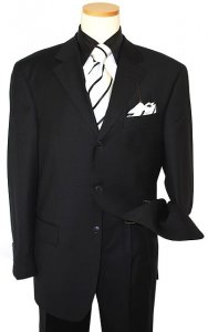 Giorgio Cosani Solid Black Super 150's Cashmere Wool Suit # 900