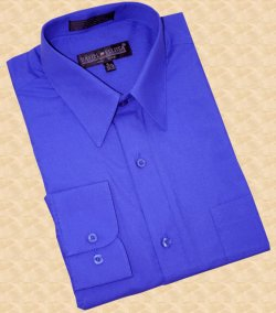 Daniel Ellissa Solid Royal Blue Cotton Blend Dress Shirt With Convertible Cuffs DS3001