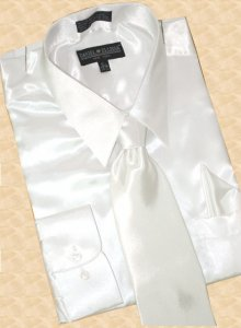 Daniel Ellissa Satin White Dress Shirt/Tie/Hanky Set