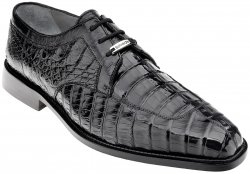 "Belvedere ""Susa"" Black Genuine All-Over Hornback Crocodile Shoes With Quill Ostrich Trim P32."