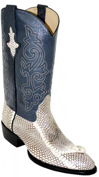 Pecos Bill All-Over Undyed Natural King Cobra Head Cowboy Boots