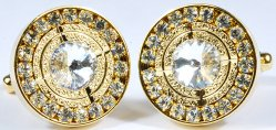 Fratello Gold Plated Round Cufflinks Set With Rhine Stones 986