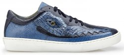 "Belvedere ""Corona"" Navy / Blue Jean Genuine Crocodile / Lizard Casual Sneakers With Eyes Y04."