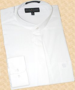 Daniel Ellissa White Banded Collar Cotton Blend Dress Shirt DS3001C