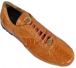 "David Eden ""3194"" Cognac All-Over Genuine Ostrich Sneakers"