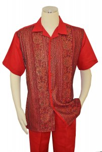Successos Red / Navy / Gold Emboidered Front Short Sleeve Linen Outfit SP3353