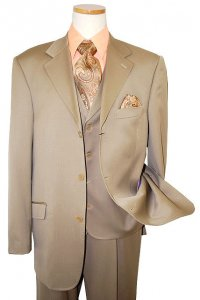 Extrema by Zanetti Solid Taupe Super 120's Wool Vested Suit 852138