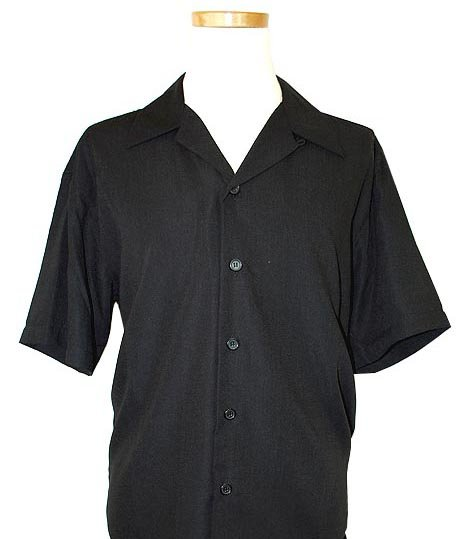 Pronti Black Micro Polyester Short Sleeve Shirt S2472