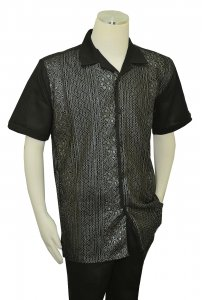 Successos Black / Silver Emboidered Front Short Sleeve Linen Outfit SP3353