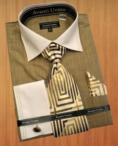 Avanti Uomo Beige With White / Tan Double Handpick Stitching Dress Shirt / Tie / Hanky Set DN49M