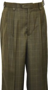 Pronti Olive With Gold Windowpane Design Wide Leg Slacks P5842-1