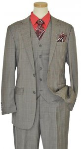 Bertolini Grey / Red Plaid Wool & Silk Blend Vested Suit 79006