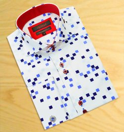 Axxess White With Sky Blue / Navy Blue Squares Design 100% Cotton Dress Shirt 08-22