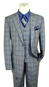 Luciano Carreli Silver / Navy / Royal Blue Super 150's Wool Classic Fit Vested Suit 6298-2090