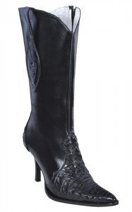 Los Altos Ladies Black Genuine Crocodile High Top Boots With Zipper 371805
