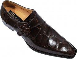19bdaa969f8 Mauri 53132 Brown Genuine All-Over Alligator Belly Skin Shoes With Monk  Strap   Alligator