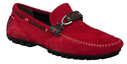 "Bacco Bucci ""Flavio"" Red / Brown Genuine Suede Leather Loafer Shoes 7435-46."