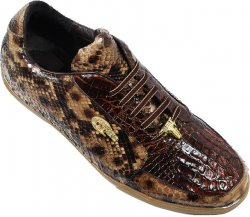 "Belvedere ""Angelo"" Chocolate Brown / Tan Genuine Crocodile And Burmese Python Skin Sneakers"