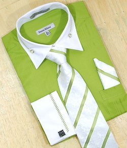 Daniel Ellissa Lime Green / White With Embroidered Design Shirt/Tie/Hanky Set DS3736P2