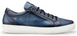 "Belvedere ""Anthony"" Blue Safari Genuine Ostrich / Soft Calf Casual Sneakers Y03."