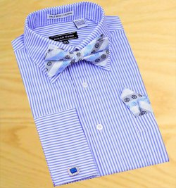 Avanti Uomo White / Sky Blue Stripes Shirt With Bow Tie / Hanky Set With Free Cufflinks DN45M