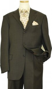 Extrema Brown With Taupe Pinstripes Super 140's Wool Suit 3166865-7333