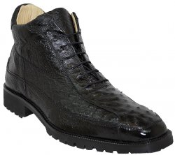 "Belvedere ""Pero"" Black All-Over Genuine Ostrich Ankle Boots"