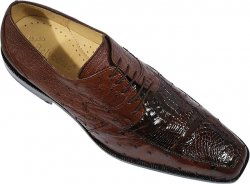 "Belvedere ""Tunisi"" Brown Genuine Crocodile/Ostrich Shoes"