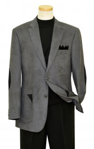 Tony Blake Grey Microsuede Blazer with Black Elbow Patches and Trim SR5