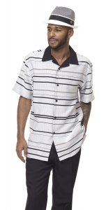 Montique Black / White Horizontal Striped Woven Front Short Sleeve Outfit 1843