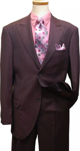 Azione by Zanetti Deep Cranberry With Mauve/Lavender Pinstripes Super 120's Wool Suit ZZ37614