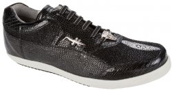 "Belvedere ""Polo II 2806"" Black Genuine Stingray/Lizard Sneakers With Crocodile On The Side"