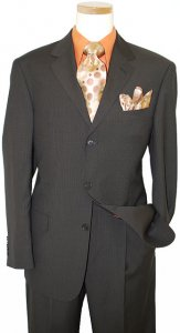 Studio Milano Brown With Rust Pinstripes Super 120's Wool Suit 34259