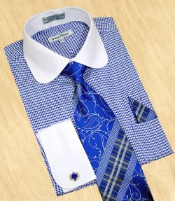 Daniel Ellissa White / Royal Blue Houndstooth With White Curve Spread Collar Shirt / Tie / Hanky Set With Free Cufflinks DS3754P2