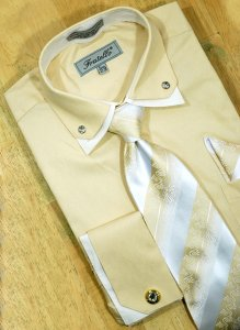 Fratello Beige/ Cream Double Collar With Rhinestones And French Cuffs Shirt/Tie/Hanky Set With Free Cufflinks FRV4111P2