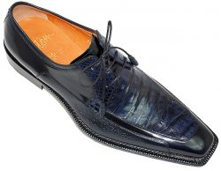 "Mezlan Custom ""Almonte"" 3431-F Navy Blue Genuine Alligator/Deer/Cordovan Leather Shoes"