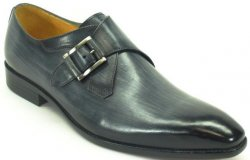 Carrucci Grey Genuine Leather Monk Strap Buckle Loafer Shoes KS503-39.