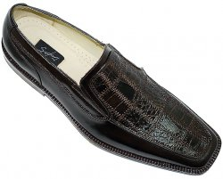 "Steve Harvey Collection ""Sven"" Brown Genuine Crocodile Shoes"