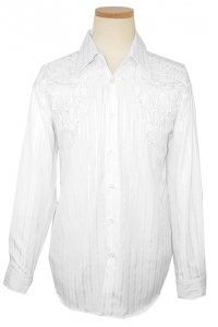 Pronti White With Shadow Stripes & Embroiderey Cotton Blend Long Sleeves Shirt S1551