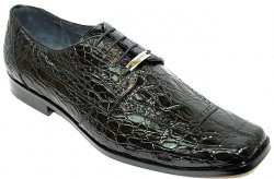 "Belvedere ""Sole"" Black All-Over Genuine Crocodile Flanks Shoes"