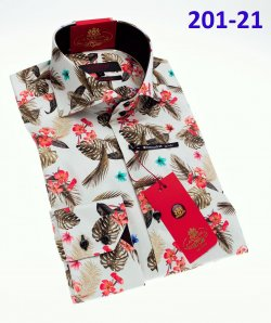 Axxess White / Brown / Red Cotton Modern Fit Dress Shirt With Button Cuff 201-21.