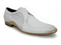 "Mezlan ""Greco"" White Genuine Italian Calfskin Shoes With Natural Calf Trim"