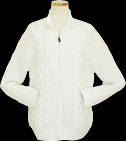 Cielo White Knitted Zip-Up Jacket Sweater K162