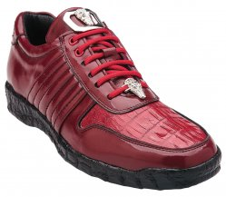 "Belvedere ""Astor"" Red Genuine Crocodile / Soft Calfskin Casual Sneakers 3000."