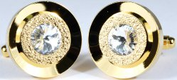 Fratello Gold Plated Round Cufflinks Set With Rhine Stones 9854