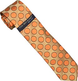 "Steven Land Collection ""Big Knot"" SL037 Taupe / Peach / Black Polka Dots Design 100% Woven Silk Necktie/Hanky Set"