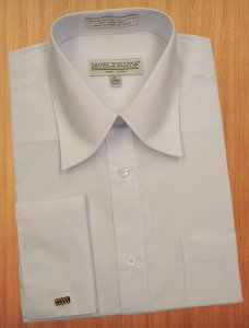 Daniel Ellissa Solid White Cotton Blend Dress Shirt With French Cuffs DS3008