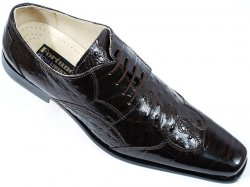 "Liberty ""Z23"" Brown Alligator / Ostrich Print Shoes #575"