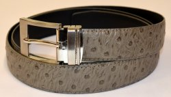 Serpi Smoke Grey Ostrich Print Genuine Leather Belt F1/30