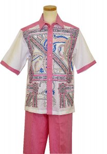 Prestige Pink / White / Blue Paisley Design Embroidery Pure Linen 2 PC Outfit CPT-533